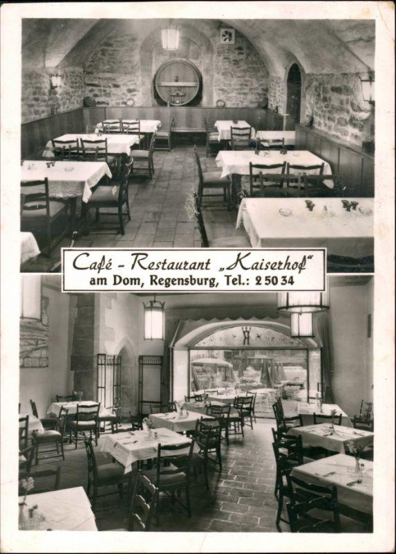 Ansichtskarte Regensburg 2 Bild Cafe Restaurant Kaiserhof 1959