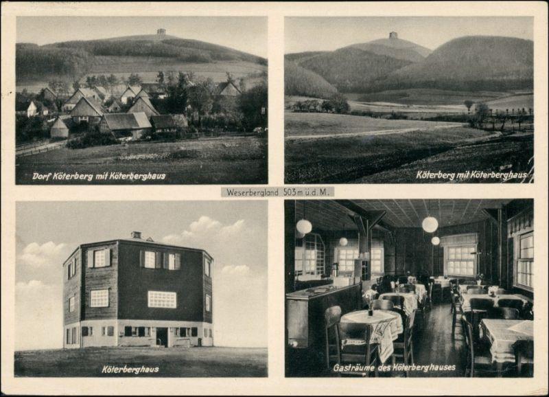 Ansichtskarte Lügde (Westfalen) 4 Bild: Köterberg Berghaus - Innen 1938