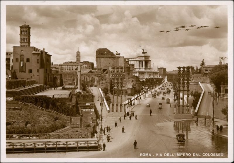 Cartoline Rom Roma Jagdflugzeuge - VIA DELL'IMPERO DAL COLOSSEO 1935