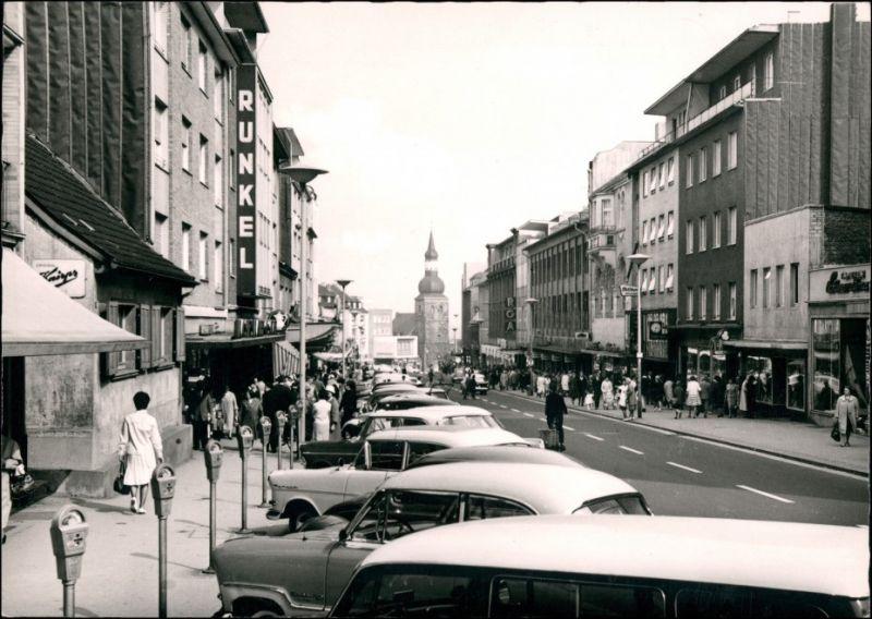 Ansichtskarte Remscheid Alleestraße, Parkuhren Autos 1962