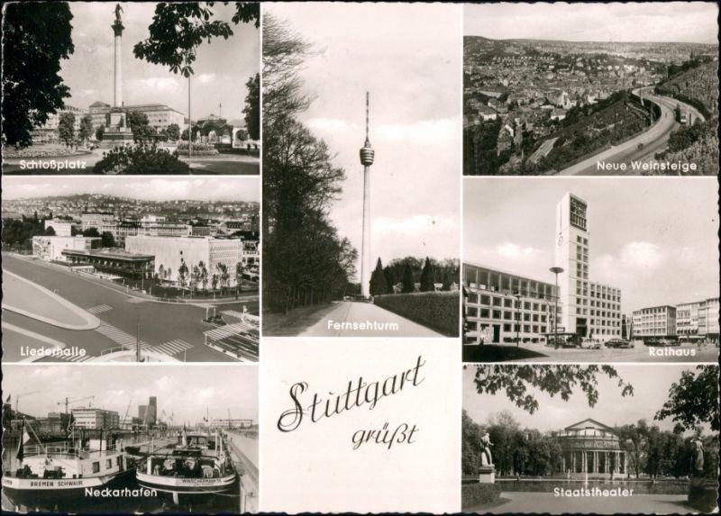 Ansichtskarte Stuttgart MB: Liederhalle, Plätze, Straßen 1961