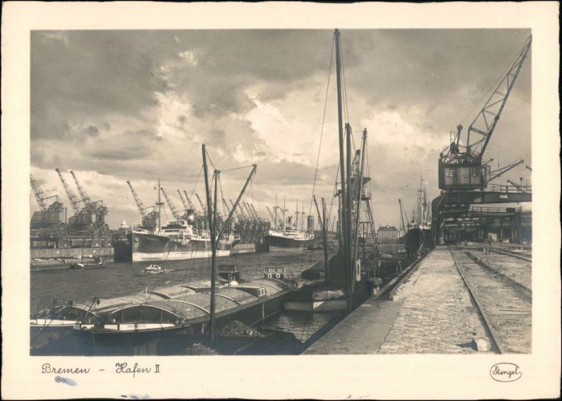 Ansichtskarte Bremen Hafen II Schiffe, Lastkräne 1930
