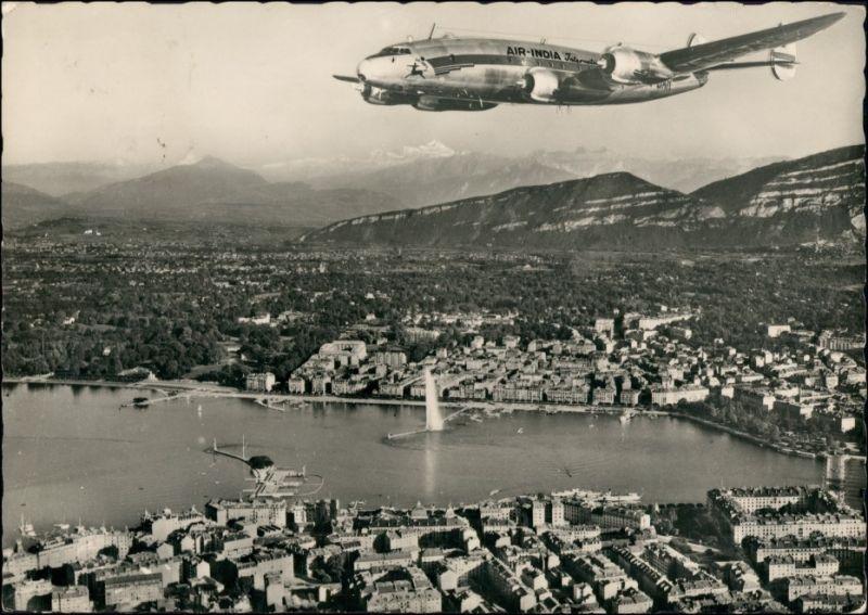 Ansichtskarte Genf Genève Air India Constellaation Luftbild 1957