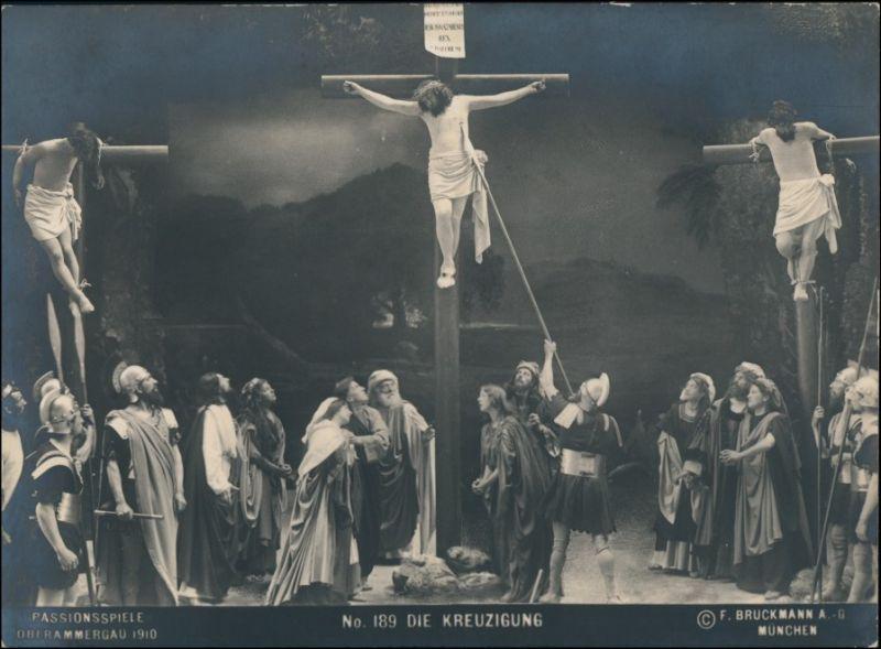 Ansichtskarte Oberammergau Passionsspiele - Kreuzigungsszene 1910