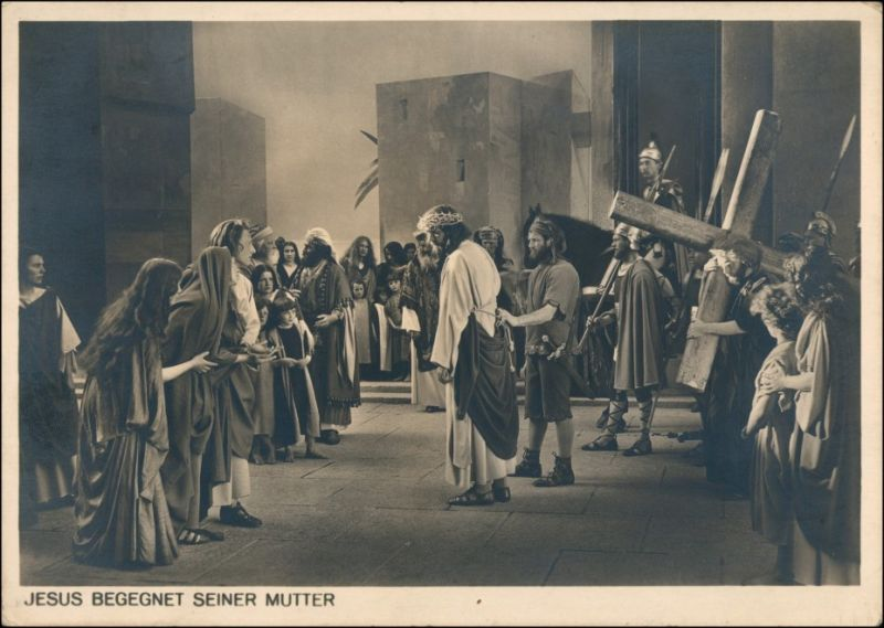 Ansichtskarte Oberammergau Passionsspiele - Jesus begegnet seiner Mutter 1934