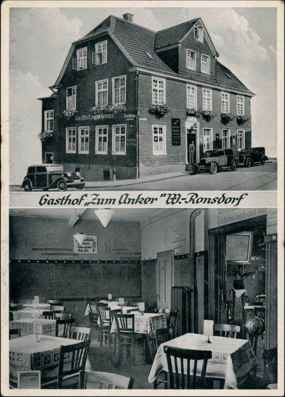Ansichtskarte Ronsdorf-Wuppertal 2 Bild: Gasthaus zum Anker - Gastraum 1936