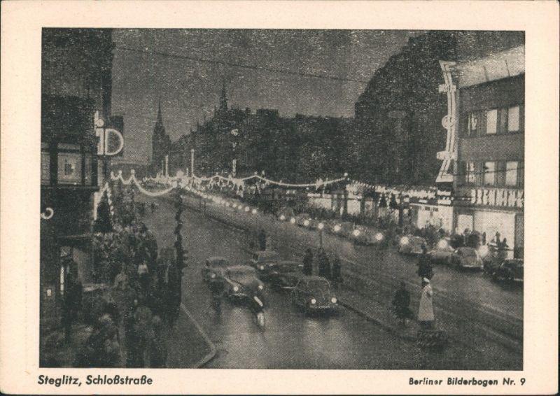 Ansichtskarte Steglitz-Berlin Schloßstraße bei Nacht 1961