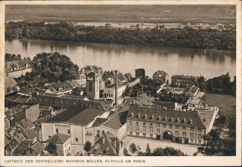 Ansichtskarte Eltville am Rhein Luftbild Sektkellerei 1934