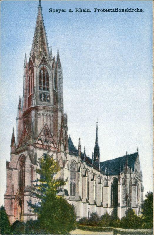Speyer Gedächtniskirche der Protestation, Kirche, Church Postcard 1910