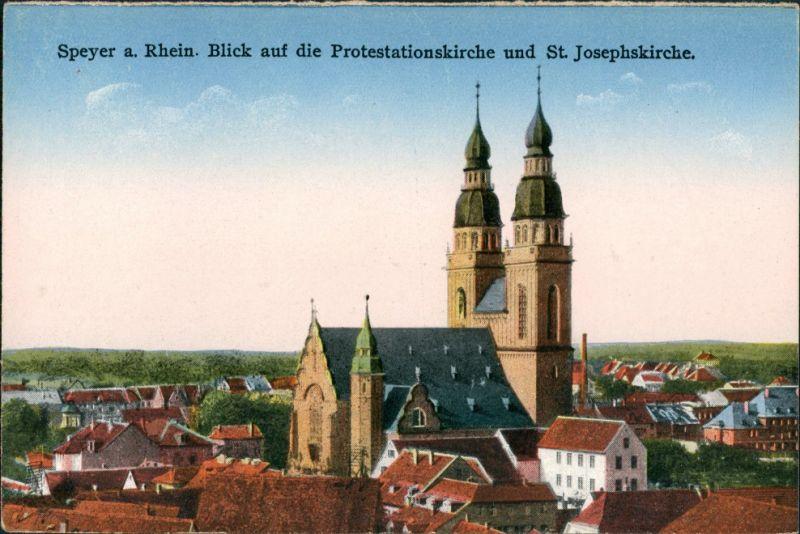 Ansichtskarte Speyer St. Josefskirche Stadt Teilansicht Church Postcard 1910