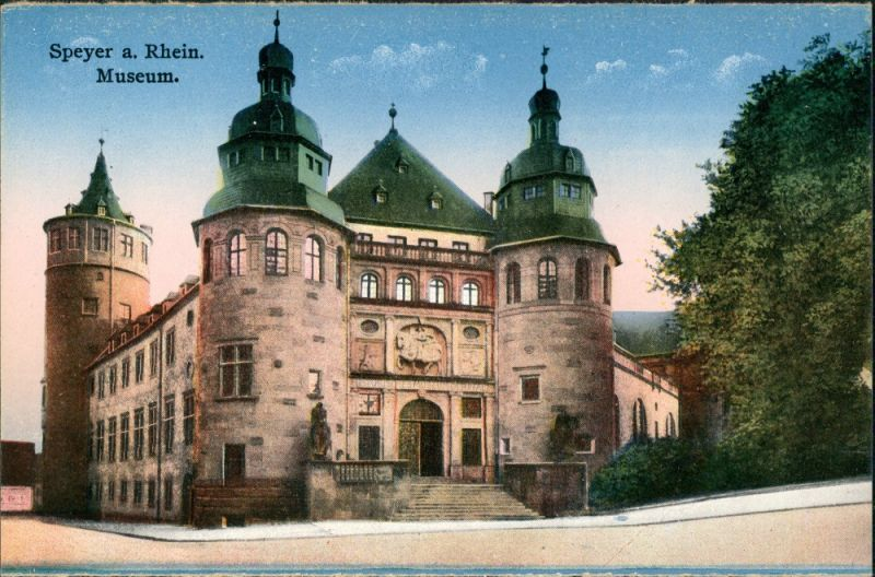 Ansichtskarte Speyer Strassen Partie am Museum Stadtteilansicht 1910
