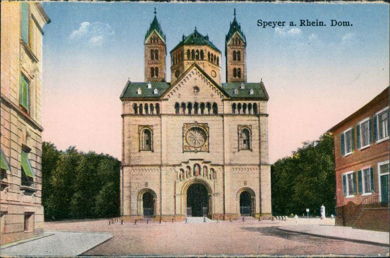 Ansichtskarte Speyer Häuser, Strassen Partie am Dom, Vorplatz, Church 1910