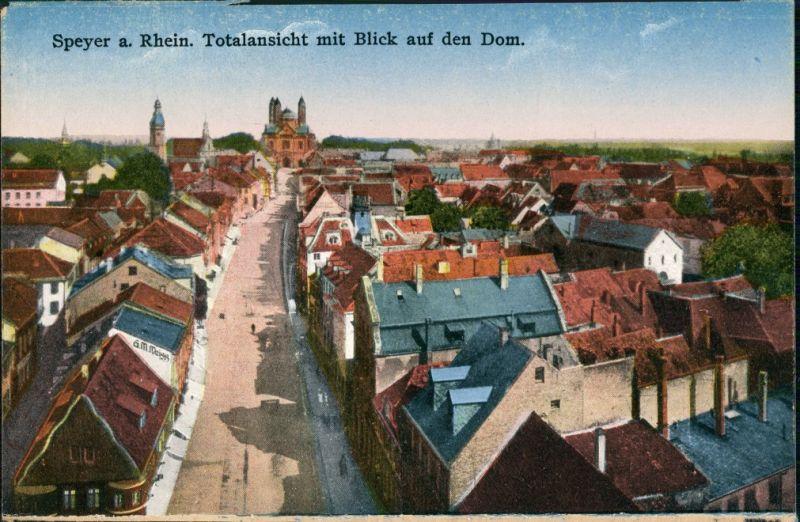 Speyer Strassen Partie Wohnhäuser Blick Totalansicht zum Dom 1910