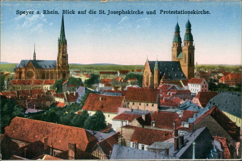 Speyer Panorama zur St. Josefskirche Gedächtniskirche der Protestation 1910