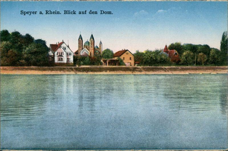 Ansichtskarte Speyer Rhein Panorama Blick auf den Dom, Ufer Häuser 1910