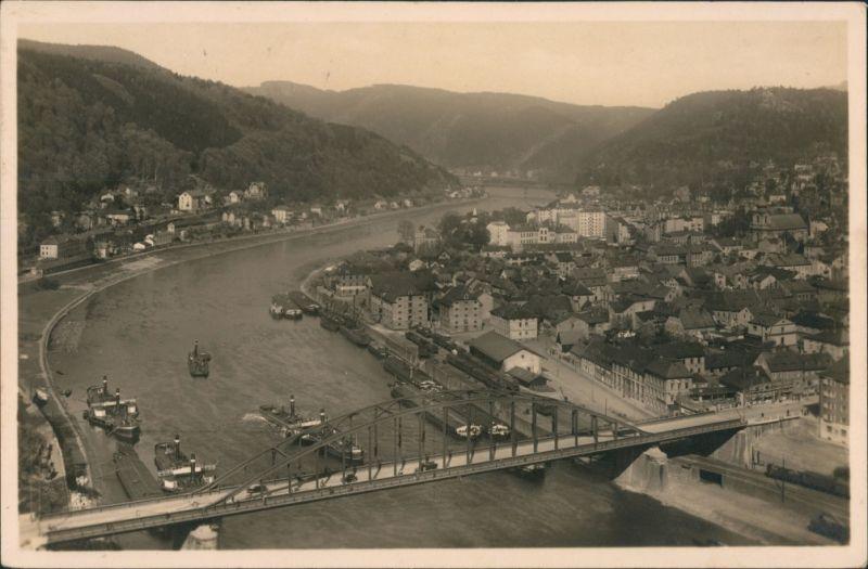 Tetschen-Bodenbach Decín Panorama-Ansicht Totalansicht mit Elbe,   1937