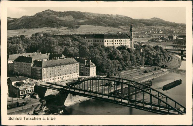 Tetschen-Bodenbach Decín Schloß Panorama-Ansicht mit Elbe Brücke, Castle 1939
