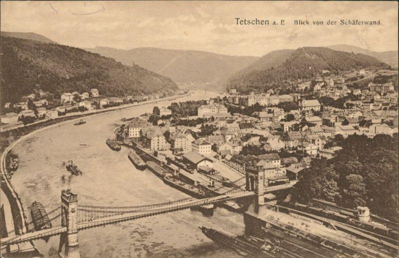 Tetschen-Bodenbach Decín Stadtteilansicht Panorama-Ansicht mit  1910/1921
