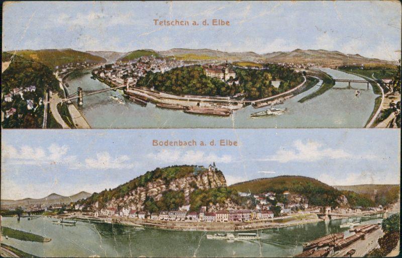 Tetschen-Bodenbach Decín Panorama-Ansichten 2-Bild-Karte Vintage Postcard 1920