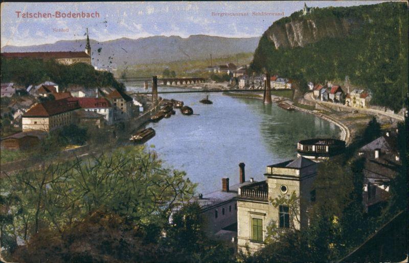 Tetschen-Bodenbach Decín Panorama  Elbe, Berg-Restaurant Schäferwand 1914