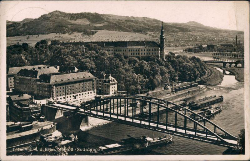 Tetschen-Bodenbach Decín Schloß Sudetengau Fluss Elbe Brücke Schiffe 1941