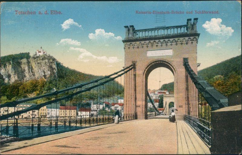 Tetschen-Bodenbach Decín Kaiserin-Elisabeth-Brücke u. Schäferwand, 1915