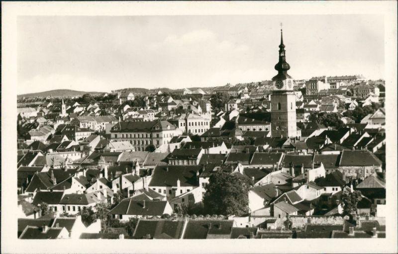 Trebitsch Třebíč Panorama-Ansicht Dächer-Blick zur Kirche 1950