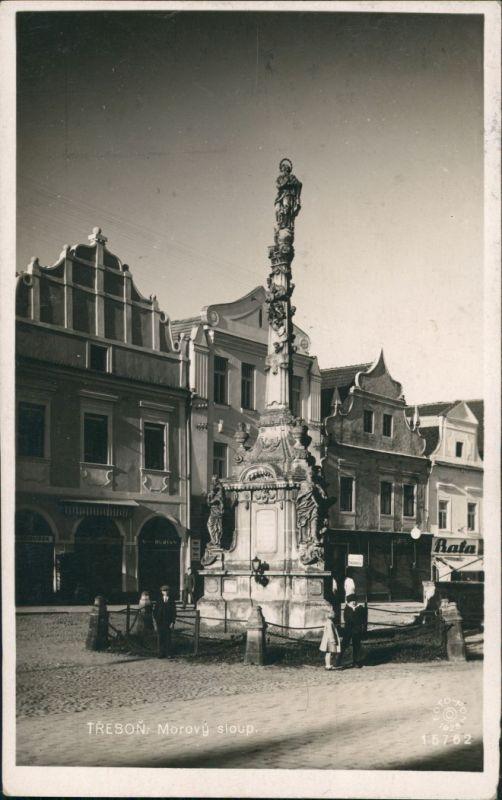 Postcard Třeboň Morovy Sloup, Strasssen Partie Personen Denkmal 1928