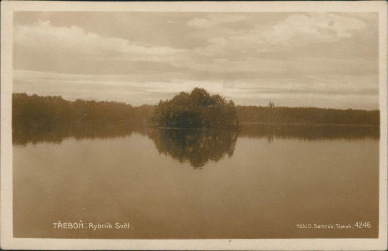 Postcard Třeboň Partie am See, Real-Photo-Postcard, Echtfoto-AK 1925