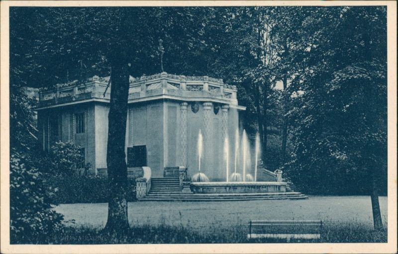 Teplitz-Schönau Teplice Kúpele Trenč Teplice Wasserspiele Vintage Postcard 1925
