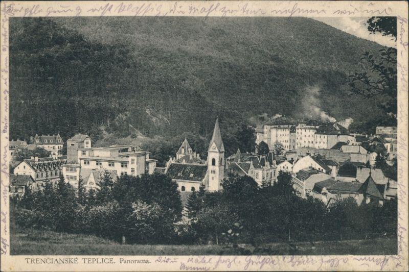 Trentschin-Teplitz Trenčianske Teplice Trencsénteplic Dorfmitte u. Kirche 1920