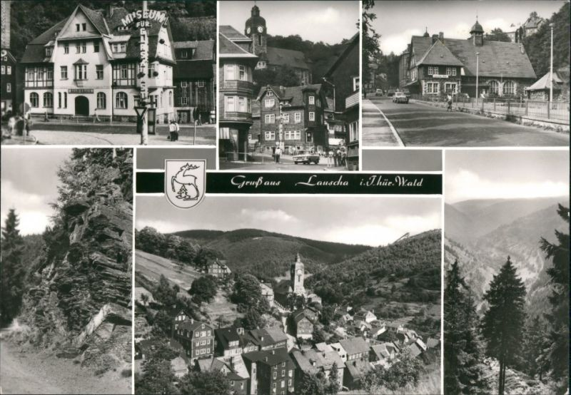 Ansichtskarte Lauscha Stadtteilansichten ua Bahnhof 1969