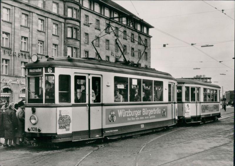 Nürnberg Nürnberg Fürther Straßenbahn vor dem Fürstenhof 1965