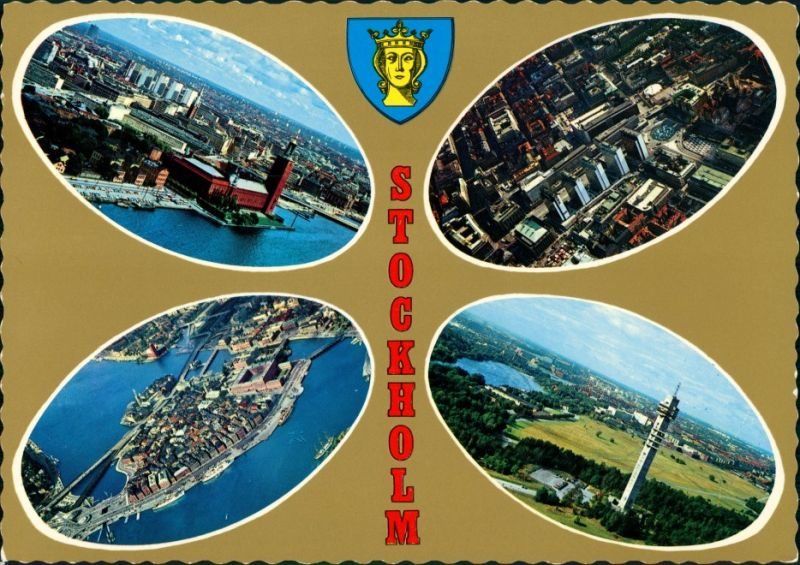 Postcard Stockholm 4 Bild: Luftbild, Hafen 1976