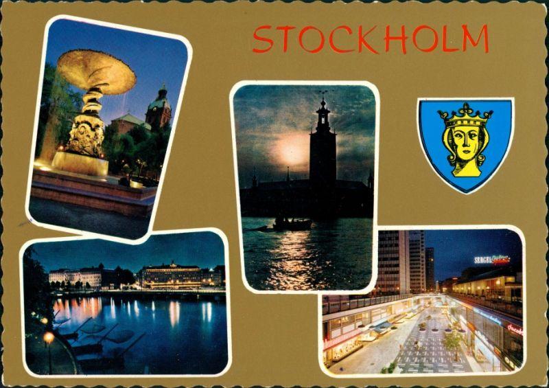 Postcard Stockholm Mehrbild: Nachtansichten, Straßen 1975