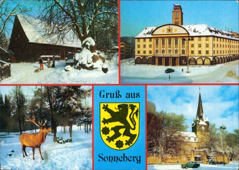 Ansichtskarte Sonneberg Stadtteilansichten im Winter 1990