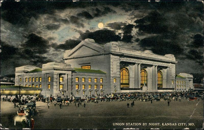 Postcard Kansas City Union Station by Night 1913
