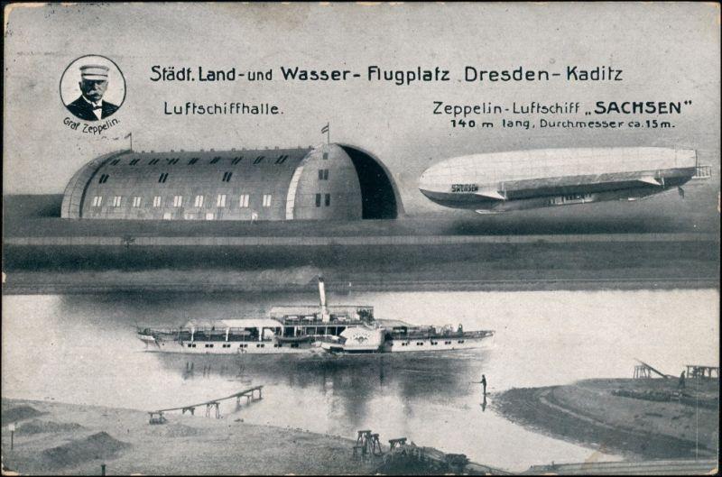 Ansichtskarte Kaditz-Dresden Flugplatz, Zeppelin Sachsen Dampfer 1913