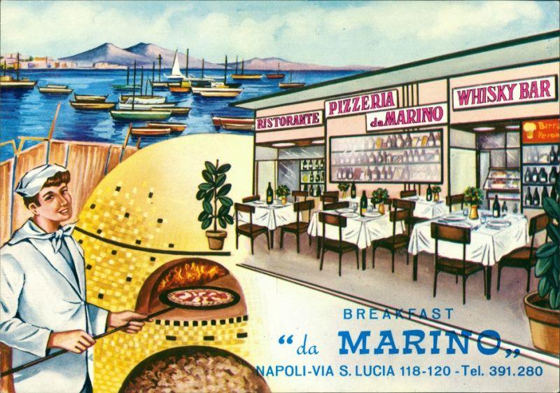 Cartoline Neapel Napoli Breakfast da Marino Via S. Lucia 1965