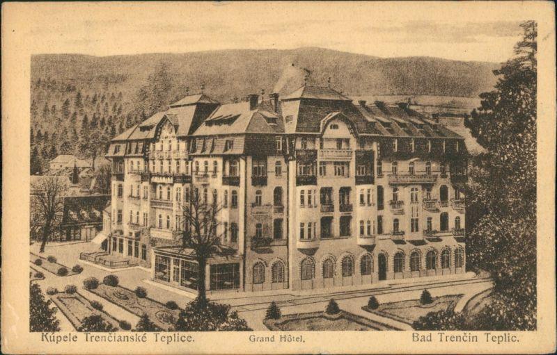 Trentschin-Teplitz Trenčianske Teplice Trencsénteplic Strassen Grand Hotel 1924