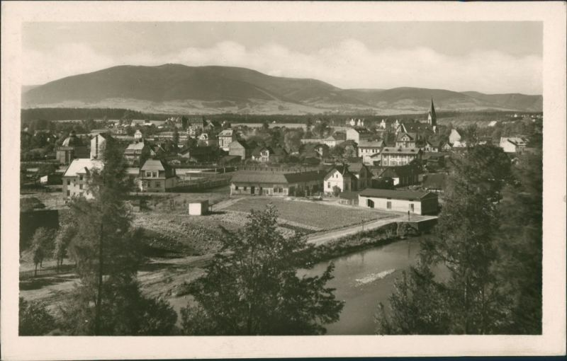 Postcard Třinec Panorama Gesamtansicht, Echtfoto-Postkarte 1955