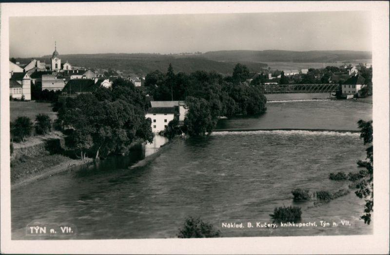 Moldautein Týn nad Vltavou Teilansicht Fluss Partie, Brücke, Stromschnellen 1955