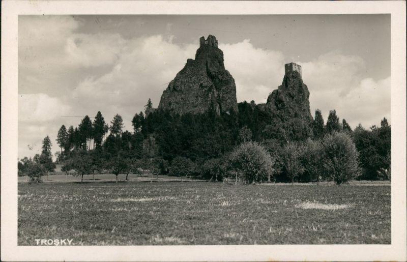 Rowensko bei Turnau Rovensko pod Troskami Castle Postcard Hrad Burg Ruine 1936
