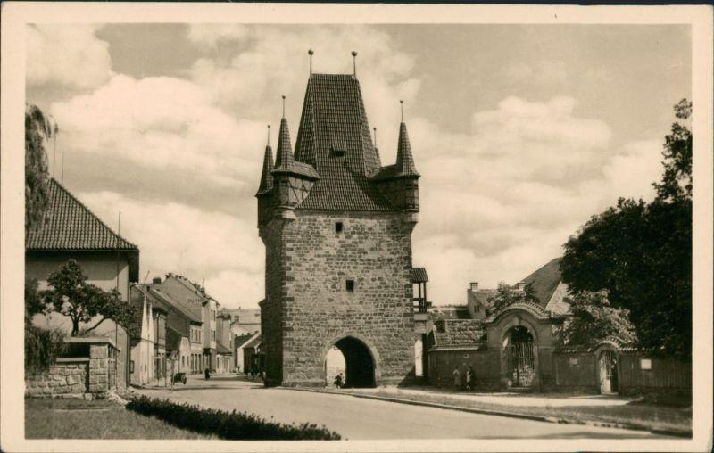 Rakonitz Rakovník RAKOVNÍK Strassen Partie Street View Postcard 1950