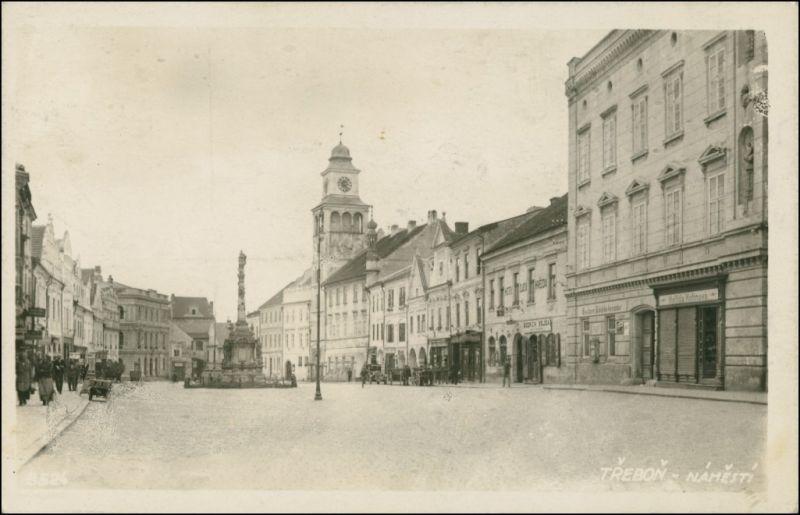 Postcard Třeboň Marktplatz - Gasthaus 1938