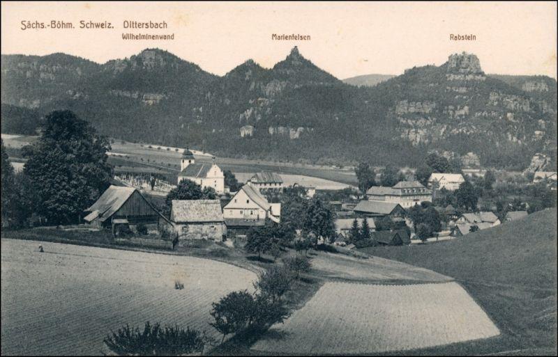 Dittersbach (Böhm. Schweiz) Jetřichovice Partie an der Stadt 1912