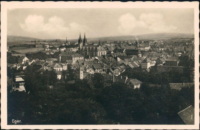 Postcard Eger Cheb Stadtblick 1932