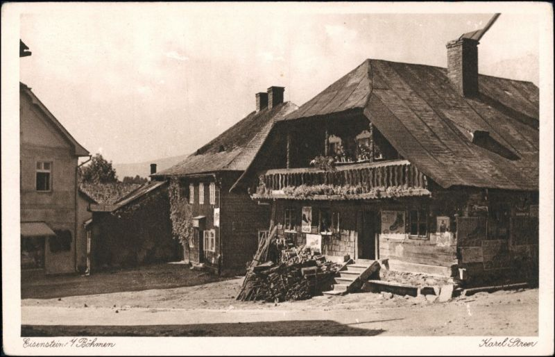 Postcard Markt Eisenstein Železná Ruda Straßenpartie 1927