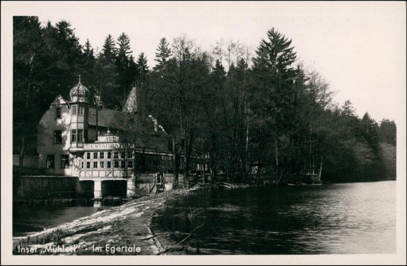 Postcard Eger Cheb Restaurant Insel Mühlerl 1930