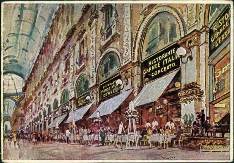 Mailand Milano Künstlerkarte Ristorante Grande Italia Gersi 1929